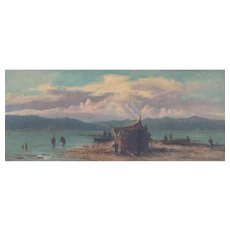 "AGOSTINO FOSSATI (Italian, 1830 - 1904) - ""Fishing Boats"" - Original Signed Oil Painting"