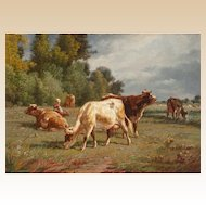 CHARLES GABRIEL HARPSAU (British, 1885 - 1910) - Cows In A Field With The Little Cowgirl - Original Signed Oil On Canvas