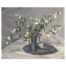 """Wilhelmus Hendikus HEINECKE (Dutch, 1895 - 1976) """"Snow Berry"""" Original Signed Oil On Canvas"""