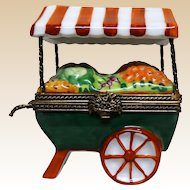 Limoges France Authentic Parry Vieille Peint Main Hand-Painted Porcelain Vegetable Cart, Signed with Maker's Mark, Trinket Box