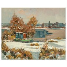 """MAURICE LEMAITRE (French,  b. 1926) - """"Lake In Winter"""" - Original Signed Oil On Canvas - Wonderful Impressionist"""