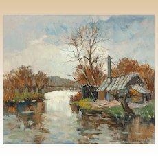 """MAURICE LEMAITRE (French,  b. 1926) - """"La Maison du Remouleur"""" - Original Signed Oil On Canvas - Wonderful Realism/Impressionism"""