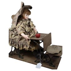"""VLASTA Pat Thompson - Doll Artist Extraordinaire  - """"Etta At Her Desk"""" - c. 1986 Very Large and Very Special!"""