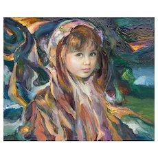 "FRANCISCO J.J.C. MASSERIA (Argentinian 1926 - 2002) - Original Signed Impressionist Portrait Oil on Canvas - ""Louise"""