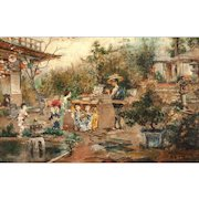 """HERMANN HUMPHREY MORRES  (Hungarian, 1885-1971) - """"Japanese Courtyard"""" Original Signed Oil On Canvas"""