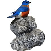 """DON BRIDDELL (American b. 1944) - """"Little Rock"""" Eastern Bluebird Sculpture, Signed/Numbered Limited Edition"""