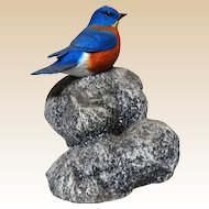 "DON BRIDDELL (American b. 1944) - ""Little Rock"" Eastern Bluebird Sculpture, Signed/Numbered Limited Edition"
