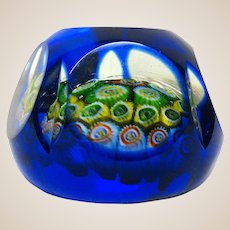 Faceted Millefiori Paperweight, Blue Overlay, Lovely!  Six Facets, Five Oval Facets Between The Round Facets