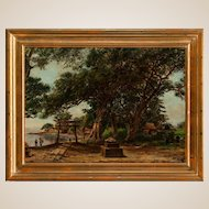 "W. ALLEN CAY, (American 19th Century) - ""Homoko Japan"" - Original Signed Antique Oil On Canvas."