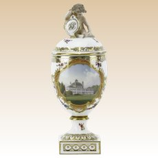 ROYAL COPENHAGEN Antique Hand-Painted Lidded Urn With Monogrammed Putti Finial. - Fredensborg Castle, Denmark