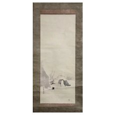 Japanese Watercolor Scroll Painting on Paper Of An Elder Near The Fire
