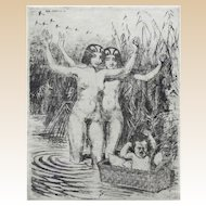 "RUDOLF HERRMANN, (German 1879-1964) - ""Nudes With Baby"" Original Etching"