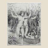 "RUDOLF HERRMANN, (German 1879-1964) - ""Nudes With Baby"" Original Etching"