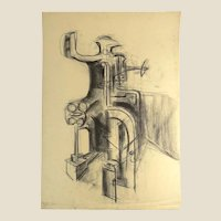 """SEYMOUR FRANKS, (American 1916-1981) - Original Signed Charcoal on Paper Drawing, """"Abstract Industry"""""""