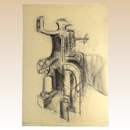 "SEYMOUR FRANKS, (American 1916-1981) - Original Signed Charcoal on Paper Drawing, ""Abstract Industry"""