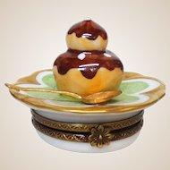 Limoges France PARRY VIEILLE Authentic Signed Petit Main Hand-Painted Trinket Box- Dessert and Coffee With A Spoon