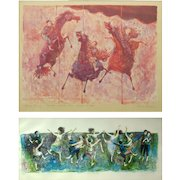 """DAVID BERGER (American 1920 - 1966) PAIR  Lithographs, Signed, """"Lots of People Dancing"""" and """"Three Horses and Three Riders"""""""