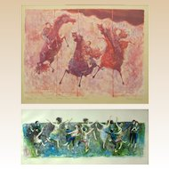 "DAVID BERGER (American 1920 - 1966) PAIR  Lithographs, Signed, ""Lots of People Dancing"" and ""Three Horses and Three Riders"""