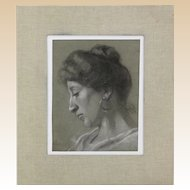 "Antique Roman School Signed Charcoal and White Pastel Two-Sided Drawing - ""Portraits of a Lady and Young Boy""  Dated 1901,"
