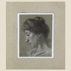 """Antique Roman School Signed Charcoal and White Pastel Two-Sided Drawing - """"Portraits of a Lady and Young Boy""""  Dated 1901,"""