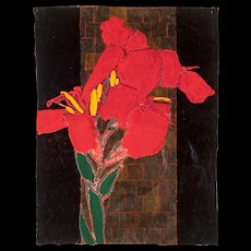"""ROBERT KUSHNER (American b. 1949) - Original Signed/Titled """"Red Canna"""" Mixed Media On Paper"""