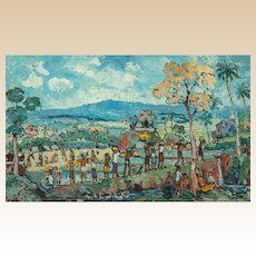 """PUTU PAGER (Balinese, b 1932) - Original Signed Oil On Canvas """"Going To Market"""""""