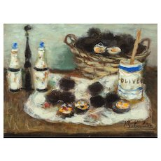 """EUGENE BABOULENE (French 1905-1994) - Original Signed/Dated  Oil On Canvas """"Nature Morte aux Oursins"""" (""""Still Life With Sea Urchins"""")"""