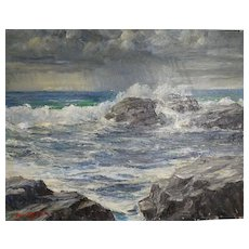"""ROY KEISTER (American 1886-1983) - """"Shower Marino""""  - Original Signed/Dated Oil On Canvas Panel, 1963"""
