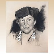 """S. J. WOOLF (American 1880 - 1948) - Original Signed/Dated Charcoal Portrait """"Mrs. Mary Norton"""" -  1937"""