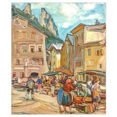 "EMIL RIZEK (Austrian 1901 - 1988) - ""Market Day"" Original Signed Oil On Canvas"