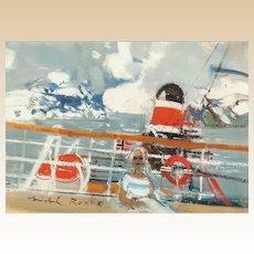 "MICHEL RODDE (French, 1913 - 2000) - Signed Original Oil On Canvas ""Le Pont"""