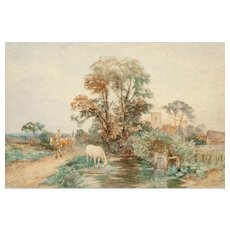 "DAVID BATES (British, 1840-1921) - Original Signed Watercolor ""Homeward Bound"""