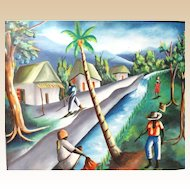 "Haitian School Signed Original Oil On Canvas ""Island Life"""
