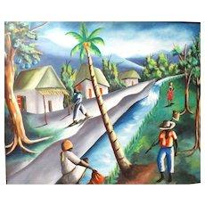 "Haitian School Signed Original Oil On Canvas ""Island Life"""