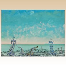 "LUCIEN COUTAUD (French, 1901-1977)  - Signed Original Surrealist Oil ""Elles Cueillent"""