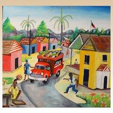 "Haitian School Signed Original Oil On Canvas ""Street Scene"""