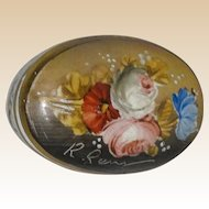 Lovely Artist-Signed Fiori Fiamminghi (Flemish School Flowers) Porcelain Trinket Box or Dresser Box