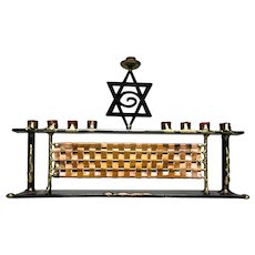 Hand-Crafted Copper and Metal Menorah, Quite Unusual and Beautiful, Artist Signed