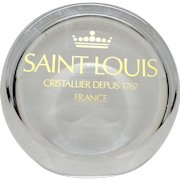 SAINT-LOUIS Fine Crystal Paperweight, Frosted And Clear, With Large Saint Louis Logo