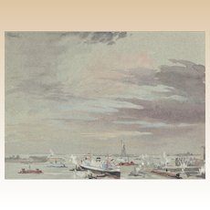 """JOSEPH PENNELL (American, 1857 - 1926) - Original Signed Watercolor """"The Harbor and The Statue Of Liberty"""""""