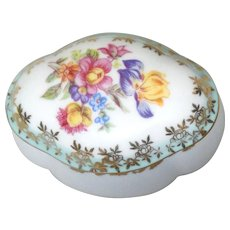 From Germany -Lovely Porcelain Lidded Trinket Box or Dresser Box