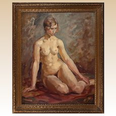 "VINCENT NESBERT (Polish/American, 1898-1976) - Original Signed Oil - ""Female Nude"""