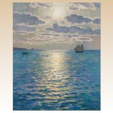 """CHARLES LOUIS SIGNORET (French, 1867- 1932) - Original Signed Oil On Canvas """"Dans La Lumiere Du Soir"""""""