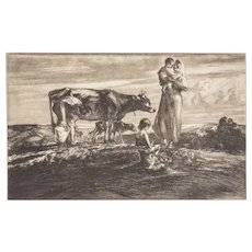 "JOHN E. COSTIGAN  (American, 1888-1972) - Signed Limited Edition Etching ""Figures With Cow"""