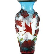 Antique Chinese Peking Glass Cameo Vase - Blue Iridescent Textured Ground With Silver Flecks; Trees and Cranes in High Relief