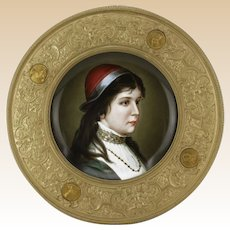 19th Century German Hand Painted Porcelain Portrait Charger Mounted in Gilt Metal/Brass Frame.