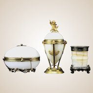 Antique THREE PIECES Onyx and Bronze Vase, Covered Jar and Egg Shaped Box