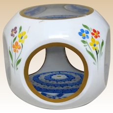 Lovely Overlay Faceted Close-Packed Millefiori Art Glass Paperweight With Hand-Painted Flowers