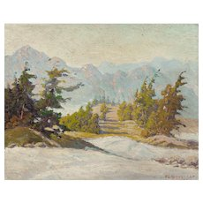 "PETER LANZ HOHNSTEDT (American, 1872 - 1957) Original Signed Oil ""Winter Scene"""