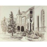 """BROR UTTER  (American, 1913-1993) - Original Signed/Dated  Watercolor """"Mediterranean Garden""""  1967"""
